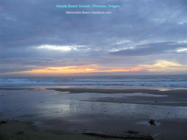 Beach Sunset Picture - Heceta Beach - OR - blue clouds with color shades of orange, yellow, & pink