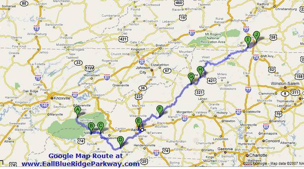 Blue Ridge Parkway Vacation Map Route from Google Maps