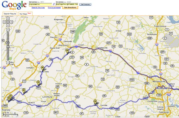 To Interactive Google Map Route for Blue Ridge Parkway Vacation