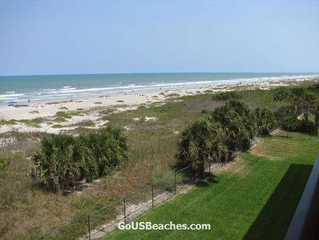 Cocoa Beach Florida beach with Atlantic Ocean waves taken from Timeshare Condo Balcony