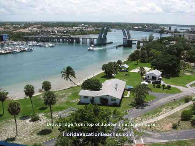 Jupiter Inlet Drawbridge from top of Jupiter Inlet Lighthouse - Jupiter Inlet, Florida