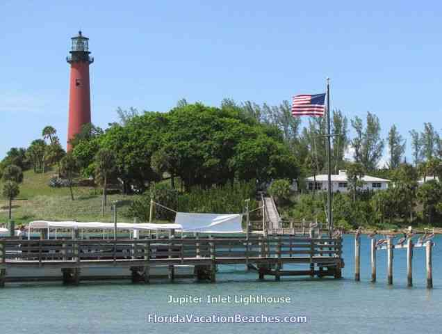 Jupiter Inlet Lighthouse + Jupiter Inlet + Pole Sitting Pelicans - Jupiter Inlet, Florida