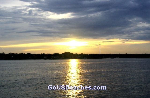 St Augustine Florida Beaches - beach sunset with Mission of Nombre De Dios Cross