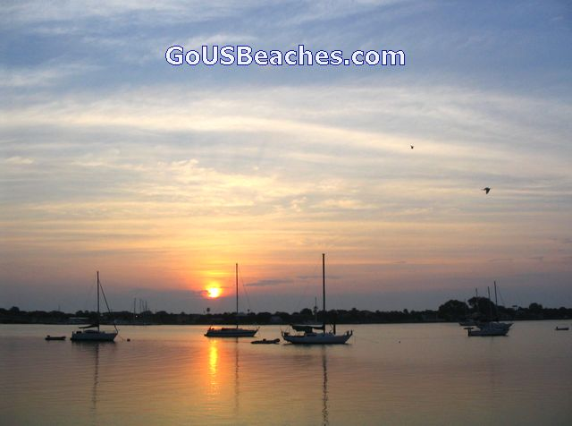 St Augustine FL Harbor Sunrise + sailboats & birds