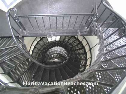 St. Augustine Lighthouse Metal Spiral Stairs down from top open viewing deck - St Augustine, Florida
