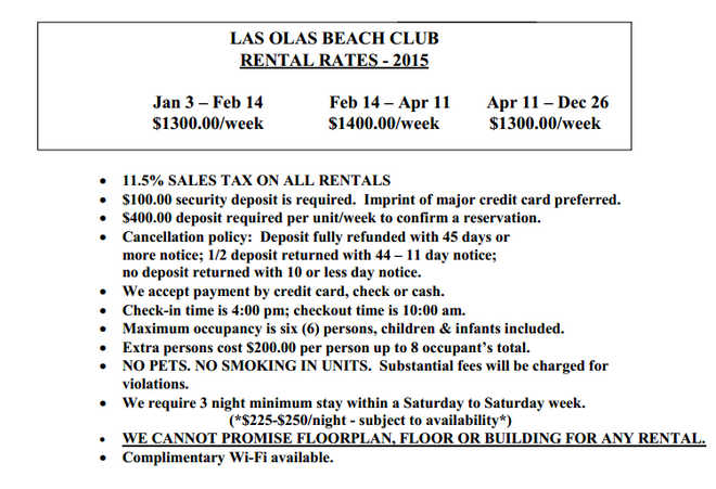 Las Olas Beach Club Rental Rates - 2015