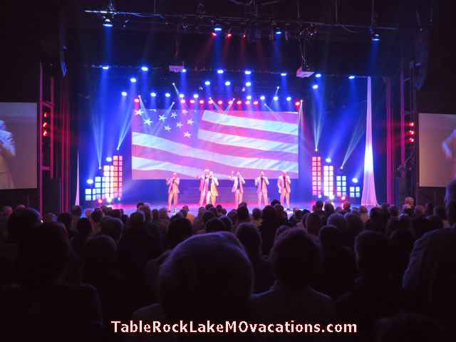 Branson MO Show - 6 brothers voices only SIX show -- Patriotic numbers with US Flag background toward end of their show