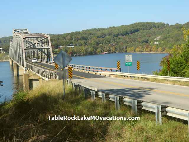One of several long steel bridges across branches of Table Rock Lake south west of Branson, Missouri