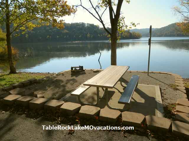Baxter State Campground & Recreational area Campsite picnic table with view of Table Rock Lake in Missouri