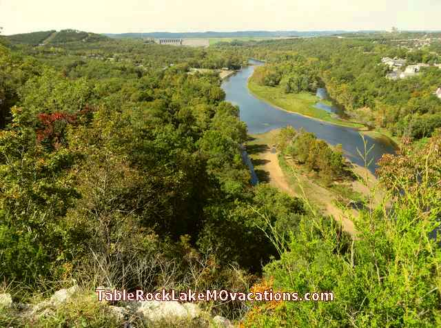 West of Branson, Missouri -- Town of Branson + Lake Taneycomo + Table Rock Dam Scenic overlook on scenic Hwy 165 just West of Branson, MO