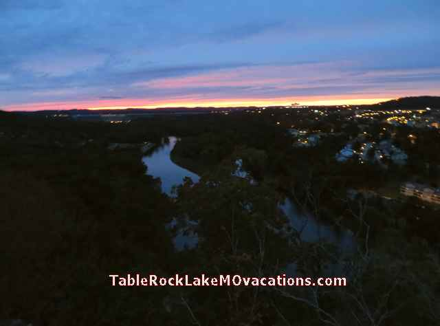 West of Branson, MO -- Pink + Blue Sunset from Branson + Lake Taneycomo Scenic overlook on scenic Hwy 165 just West of Branson