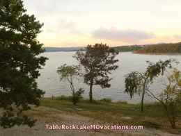 Table Rock Lake Missouri Vacation View from Kimberling City, MO area Lakefront Timeshare Condo balcony - with some pink clouds