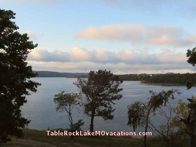 Missouri Table Rock Lake view with pink clouds from Kimberling Inn Timeshare Condo Balcony