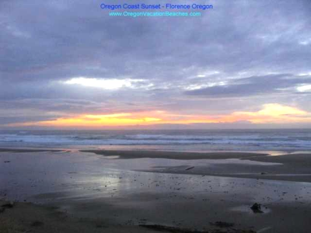 Florence Oregon - Beach Sunset - blue - yellow - pink cloud colors - blue sky