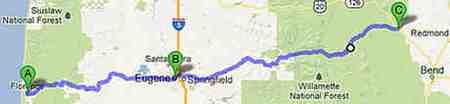 To interactive Google Map Day Trip from Florence thru Eugene to Mckenzie Pass to Sisters, OR