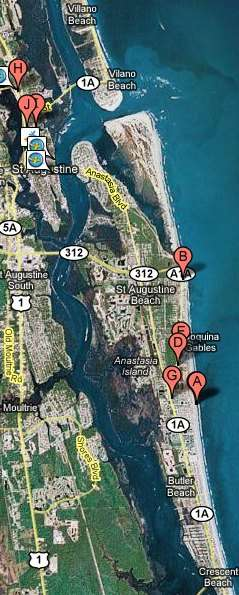 St Augustine Florida Google Map with Resorts on Beach