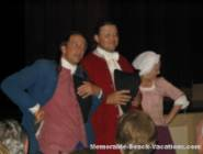 Colonial Williamsburg Play Characters hamming it up with Audiance before Play starts