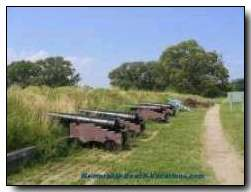 Yorktown Battlefield Cannons - hard to imagine marching straight toward those