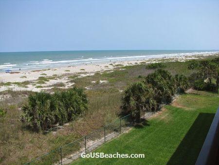 Cocoa Beach Florida beach with Atlantic Ocean waves taken from Timeshare Condo Balcony