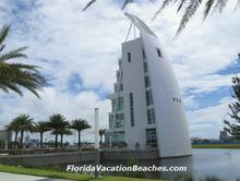 New 7 story Exploration Tower  at entrance to Port Canaveral, Florida
