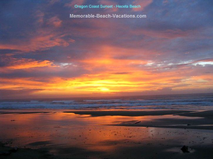 Oregon Coast Sunset - Oregon Beach Sunset Picture - Beautiful orange, yellow, blue, & red cloud colors, with red sunset reflection