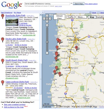 Map of Oregon Coast Attractions, Points of Interest, Dining, & Lodging