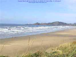 Beach area near Newport with distant Yaquina Head Lighthouse barely visible.
