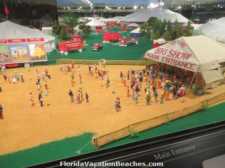 A view of the Hand Crafted Miniature Circus in the Tibbals Learning Center which has over 42,000 pieces