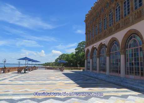Back side of John Ringling Mansion with colorful tiles and a panaroma view of the Gulf