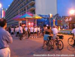 Virginia Beach Boardwalk - Band set up outside one of Restaurants - many passing by stop and listen for a while - Virginia Beach Picture page