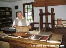 Colonial Williamsburg Print Shop - Vacation Virginia Beaches Books page