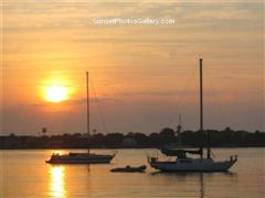 Sunrise over Harbor with Sailboats - St Augustine, Florida